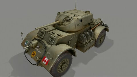 T17E1 Staghound Mk1 Armored Car Low-poly PBR