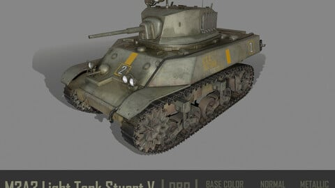 M3A3 Light Tank Stuart V Low-poly PBR