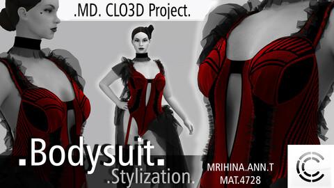 Burlesque bodysuit. Clo3d, Marvelous Designer.