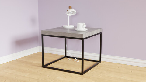 Side Table Concrete with Black DELANO