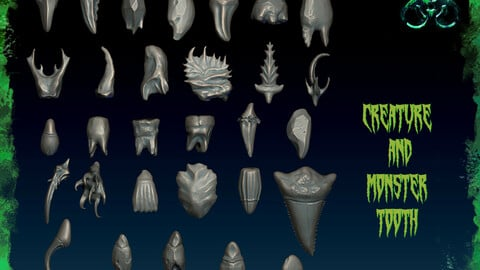 Creature and Monster Tooth-Zbrush 30 Assorted Tooth IMM Brush