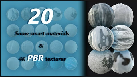 20 snow smart materials + 4k pbr tetxures