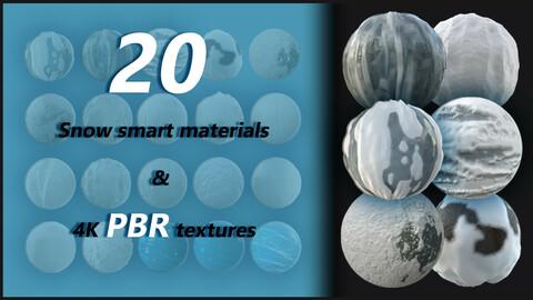 20 snow smart materials + 4k pbr tetxures