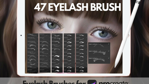 Procreate Brushes - 47 Eyelash & Eyeliner Stamps Brushset for Procreate