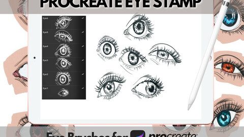 Procreate Brushes | Sketch Eye Brushes - 6 Eye Brushes for Procreate