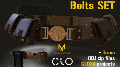 Six belts set. MD, CLO3D project files, obj, Trims
