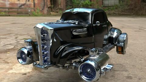 Futuristic Vintage Car Game Ready