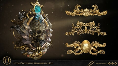 Noya Decorative Ornamental Kit Alpha + 3d Model Kitbash
