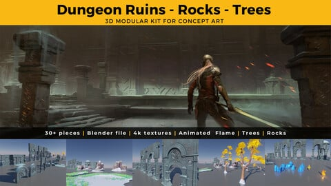 3D Assets - Dungeon Ruins , Rocks, Trees, Crystals