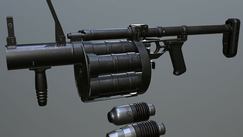 RG-6 Russian revolver type grenade launcher( Game-ready model )