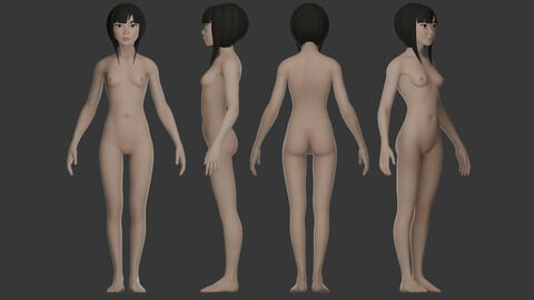 Semi stylized female asian Basemesh / Game model