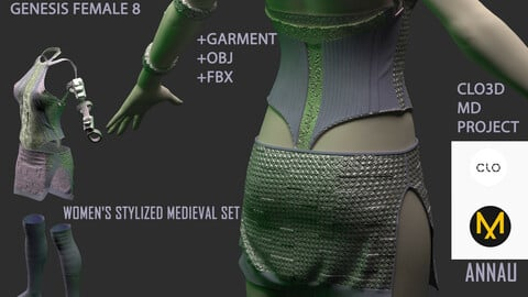 GENESIS 8 FEMALE: WOMEN'S STYLIZED MEDIEVAL SET: CLO3D, MARVELOUS DESIGNER 1 PROJECT| +GARMENT+OBJ +FBX