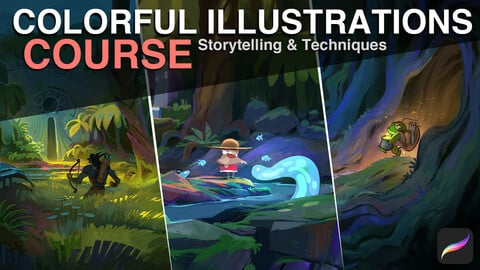 Colorful Illustrations - Course + Brush Pack