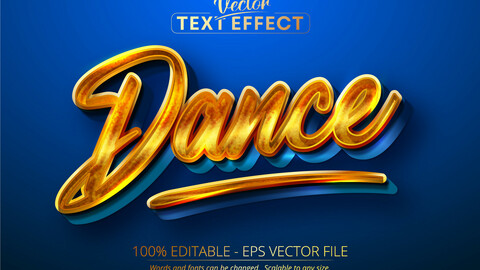 Dance text, shiny gold style editable text effect