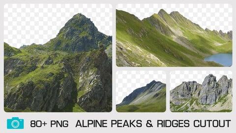 ALPINE PEAKS & RIDGES CUTOUT - Photo reference pack - 80+ PNG  & 1 bonus PSD