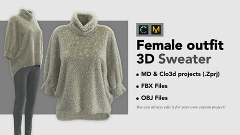 Women's Sweater. Marvelous Designer Clo3d project + FBX + OBJ files