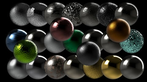 Metallic Series PBR Material 25 Pcs