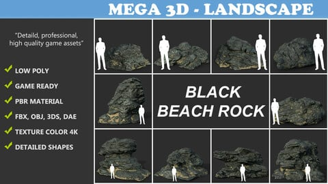 Low poly Black Beach Rock Collection 2 210210