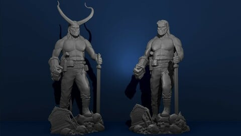 Hellboy DC Comics Action Figures Marvel Model Printing Miniature Assembly File STL, OBJ for 3 D Printer 1:8 for FDM-FFF, 1:14 for DLP-SLA-SLS