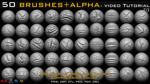 50 ZBrush Brush + Alpha (4K ) ,Fabric and Leather Compression Folds