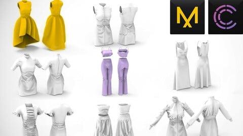 8 fashion Dresses MD / Clo3D