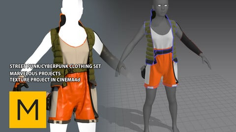 Street punk/ Cyberpunk Clothing set - Marvelous Designer - overall,jacket,gloves