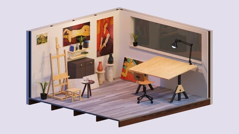 The Artist'S Studio - Isometric Game Environment