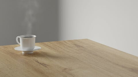 3d render coffee cup with smoke on wood table. minimal workspace. wall concept template. hot coffee in mug. cafe and resturant template.