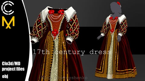 17th century dress. Marvelous Designer, Clo3d project + OBJ.