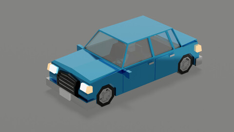 Stylized low polygon car is ready for the game