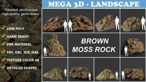 Low poly Brown Moss Rock 210217