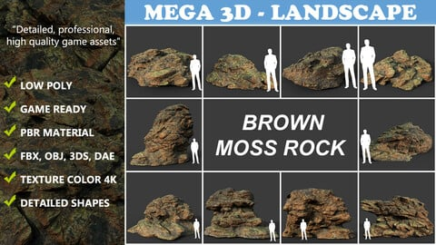 Low poly Brown Moss Rock B 210217