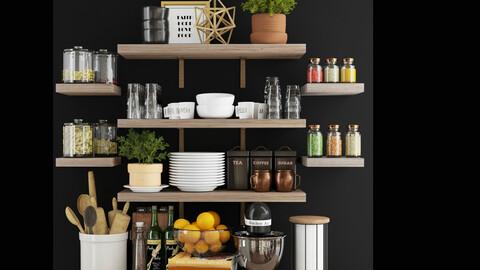 3dasset Kitchen accessories on wood shelves