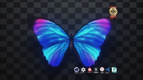 Blue Morpho Butterfly 3D Model