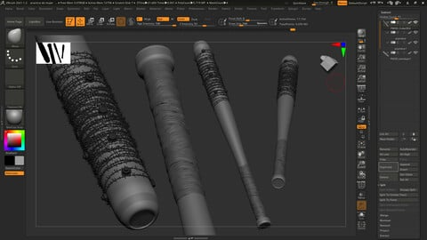 Stylized high poly baseball bat for video games