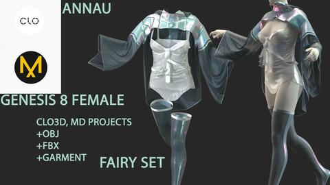 GENESIS 8 FEMALE FAIRY SET: CLO3D, MARVELOUS DESIGNER  PROJECTS| +OBJ +FBX +GARMENTS