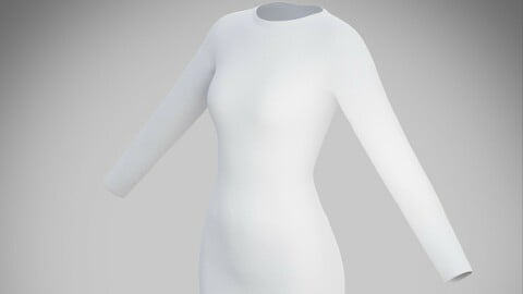 White bodycon midi dress - 3D model
