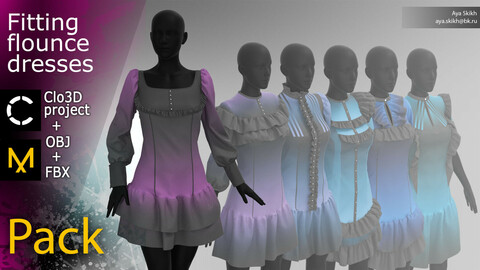 Clo3D project, Marvelous Designer. A set of 6 fitting flounce dresses