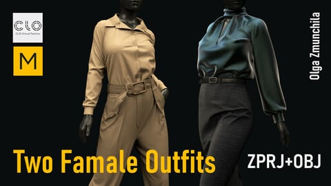 Two Famale Fashion Outfits. Clo3d, MD projects +OBJ