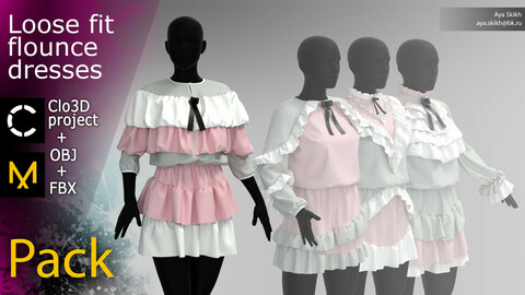 Clo3D project, Marvelous Designer. A pack of 4 loose fit flounce dresses.