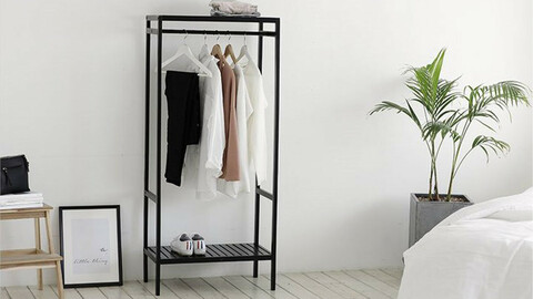 White and black five-tier shelf in pure wood