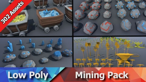 Mining Pack - Low Poly Ores, Gems, Tools, Rails & Props