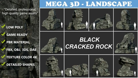 Low poly Cracked Rock B 210221