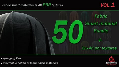 50 High Quality Fabric Smart Material Bundle + 4K PBR Texture_VOL.1