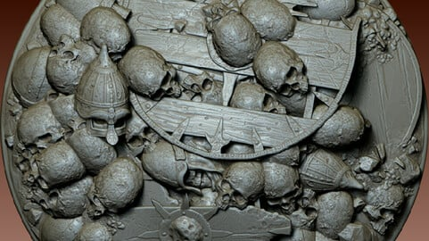Skulls and Shields heaped in a pile