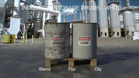 Industrial Oil Storage Drums - White