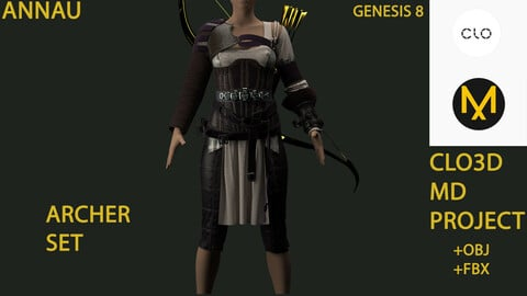 GENESIS 8 FEMALE ARCHER SET: CLO3D, MARVELOUS DESIGNER PROJECTS| +OBJ +FBX