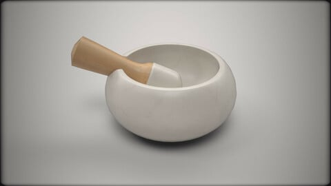 Marble mortar and pestle with cedar handle