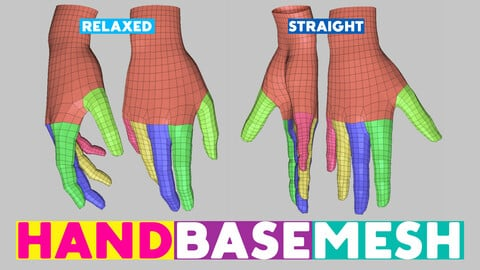 Hand base mesh topology and UV map