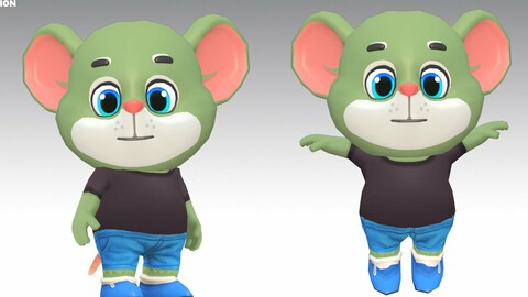 Mouse Rat Rodent Green Animated Rigged